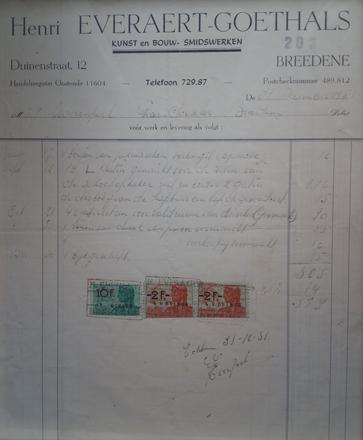Oude factuur uit 1951